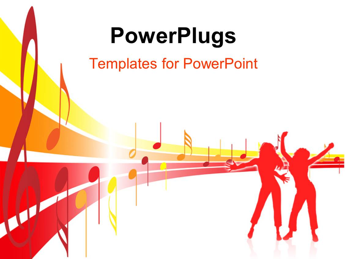 powerpoint template music theme with abstract representation of