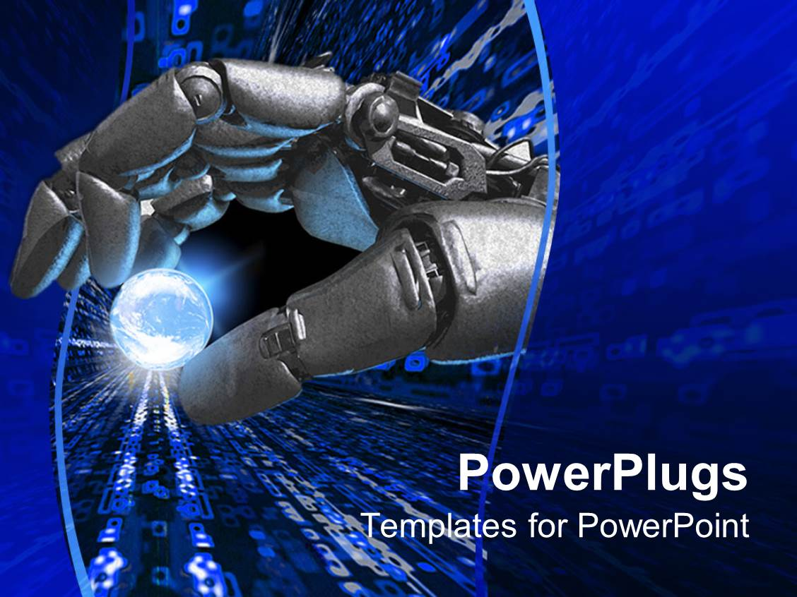 PowerPoint Template: silver robot hand holding a glowing ...