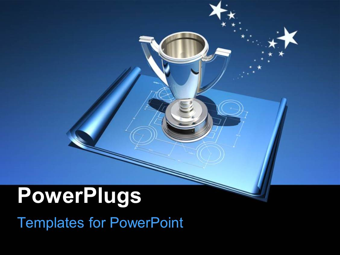 powerpoint template: award winning group points to silver trophy, Modern powerpoint