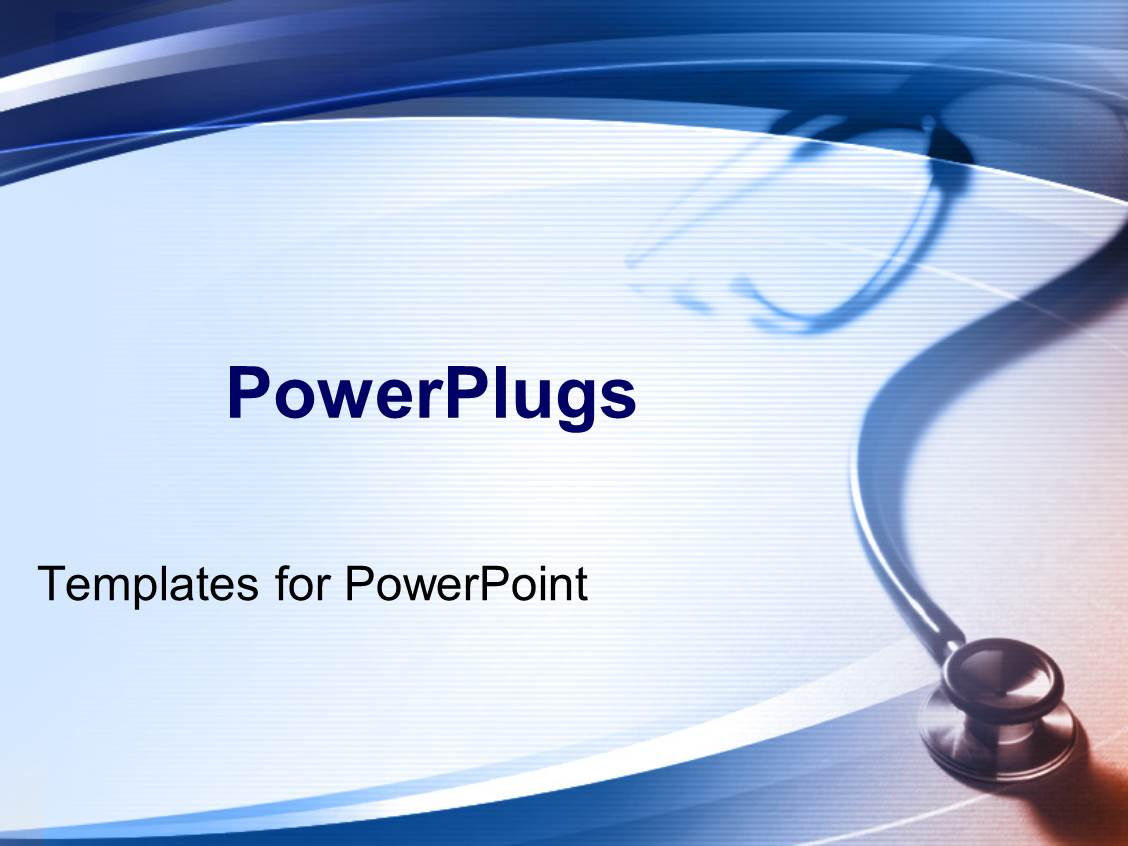 Powerpoint template simple medical theme with stethoscope for Power plugs powerpoint templates