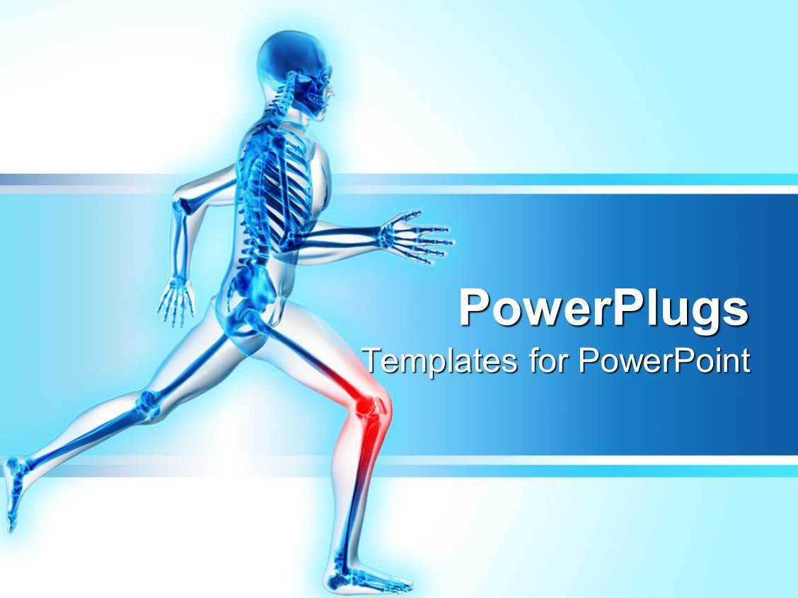 Powerpoint template a skeleton is running with highlighted knee powerpoint template displaying a skeleton is running with highlighted knee indicating pain toneelgroepblik Gallery