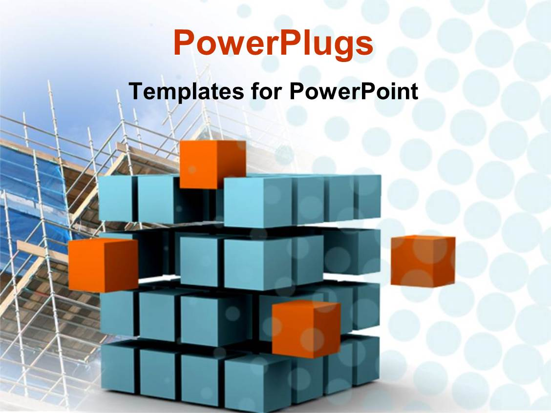 powerpoint template sliced cube with blue and orange small cubes showing motion and change with. Black Bedroom Furniture Sets. Home Design Ideas