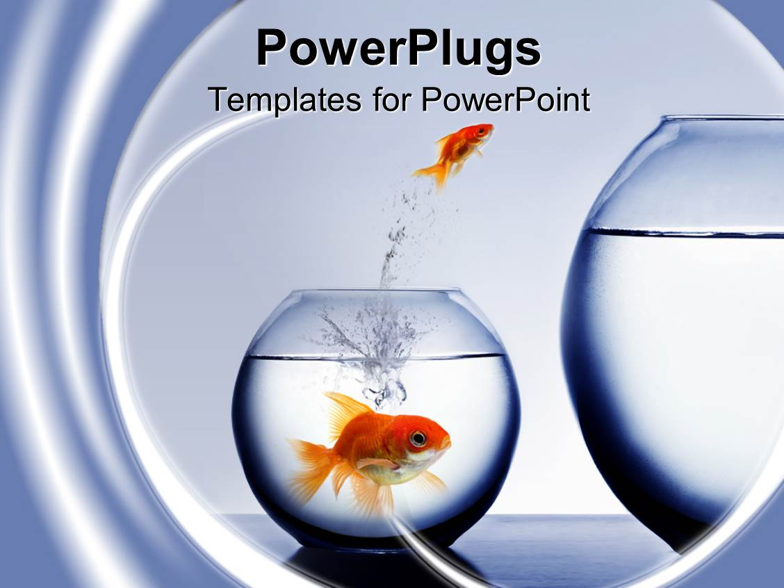 best goldfish powerpoint templates crystalgraphics powerpoint template displaying small goldfish jumping out of smaller fishbowl to larger one and large goldfish