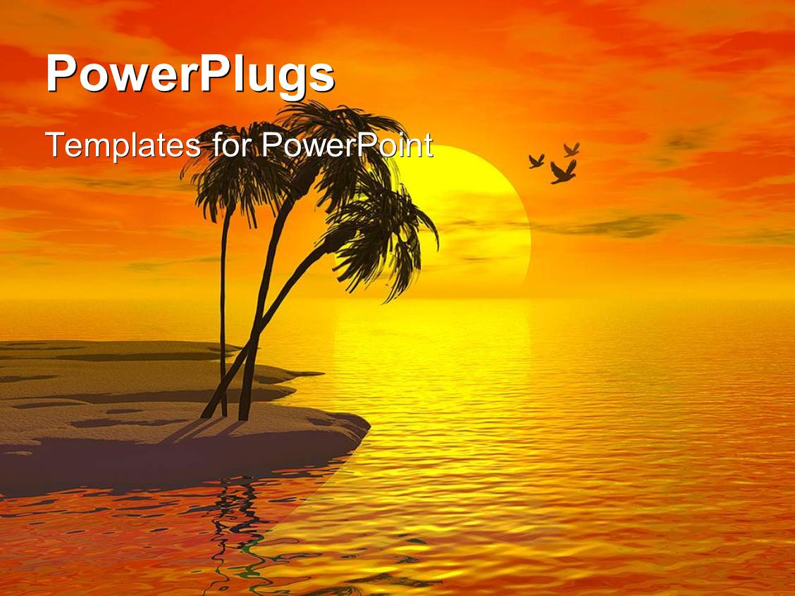 Tropical island powerpoint templates crystalgraphics powerplugs powerpoint template with small island beach with three palm trees over orange yellow sunset toneelgroepblik Choice Image