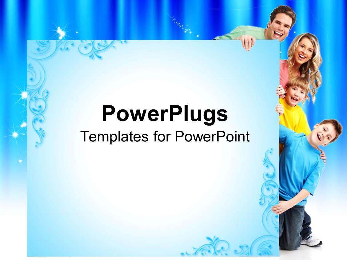 powerpoint template: smiling family of four, two sons and parents, Modern powerpoint