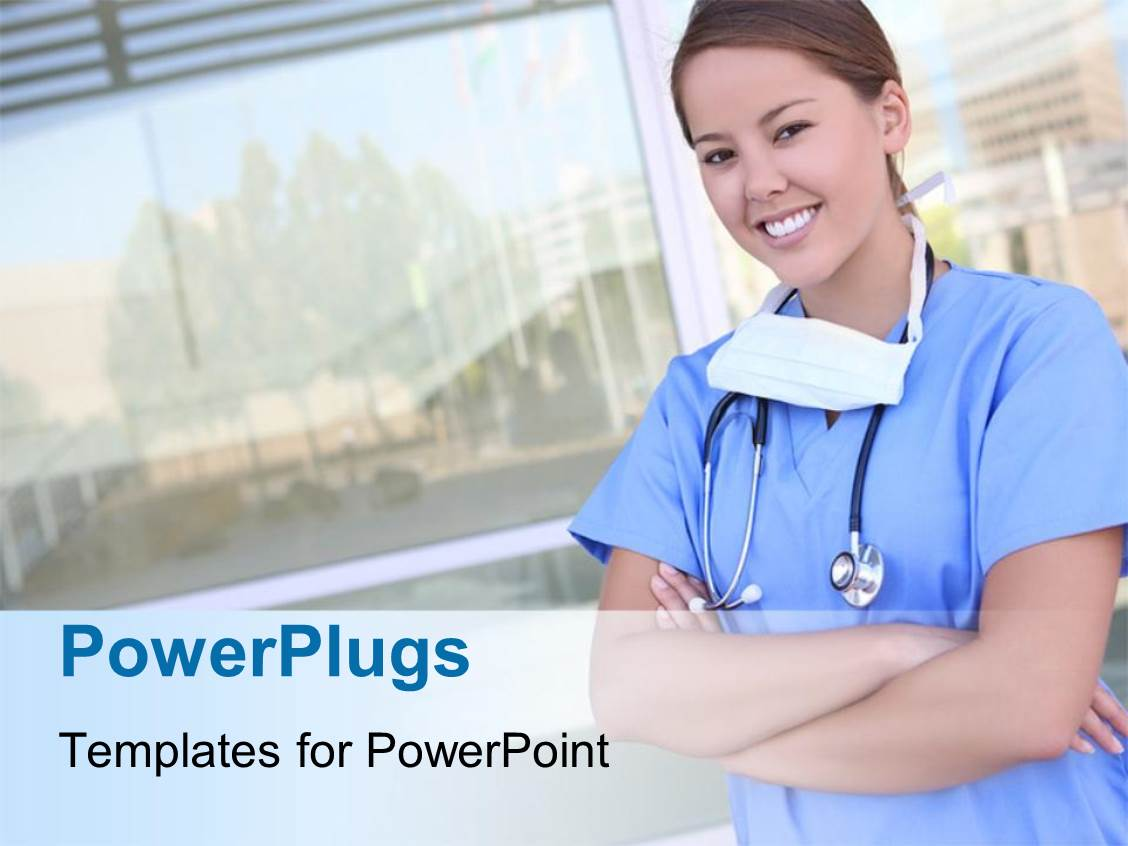 powerpoint template: a smiling female nurse in front of a hospital, Powerpoint templates