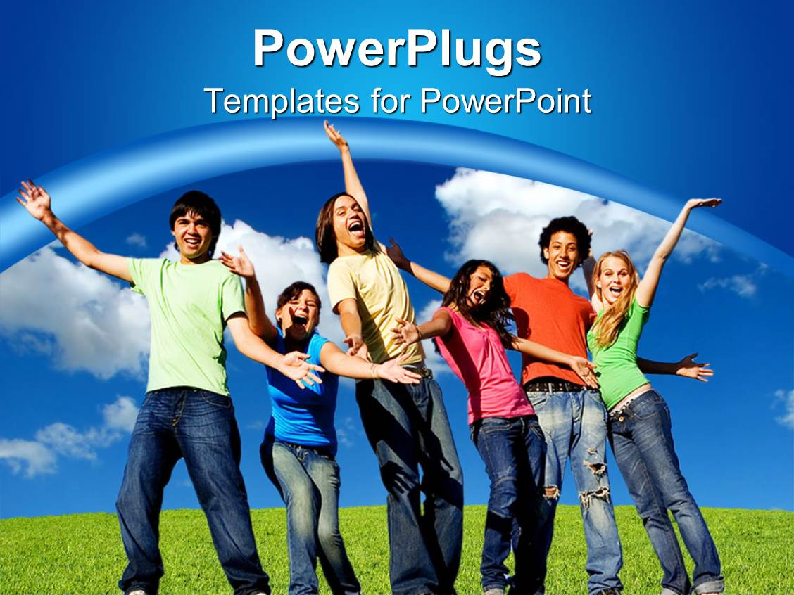 Youth powerpoint templates crystalgraphics audience pleasing slide deck featuring smiling group of young people belong to different races toneelgroepblik Choice Image