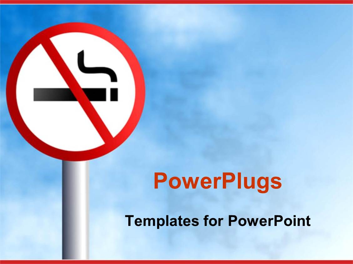 Powerpoint Template No Smoking Signpost On Light Blue Sky