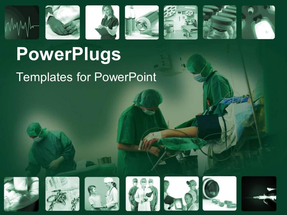 Powerpoint template snapshots of time in hospital with surgery powerpoint template displaying snapshots of time in hospital with surgery and doctors on a green background toneelgroepblik Choice Image
