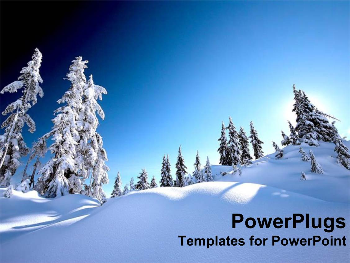 powerpoint template snow alps with white snow covered