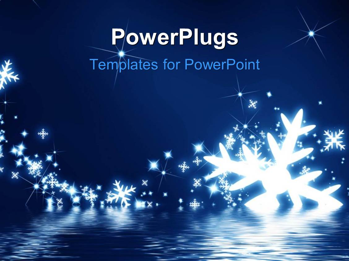 powerpoint template snowflakes on a dark blue background