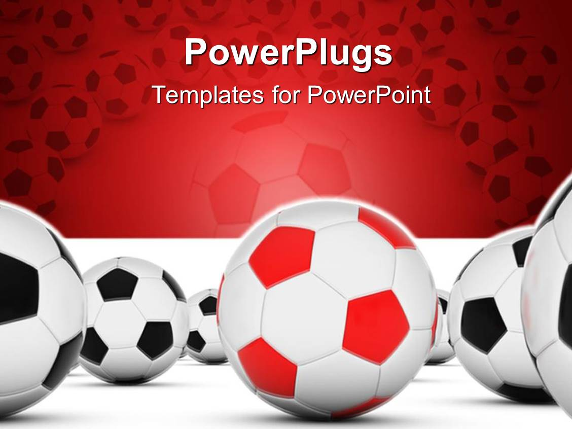 powerpoint template: soccer balls with red and black with white, Powerpoint templates