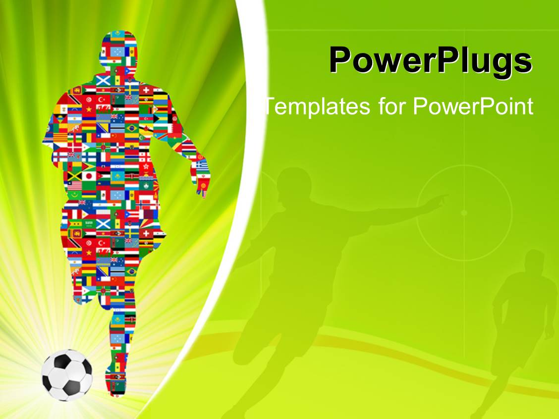 powerpoint template: soccer player made up of different flags in, Powerpoint templates