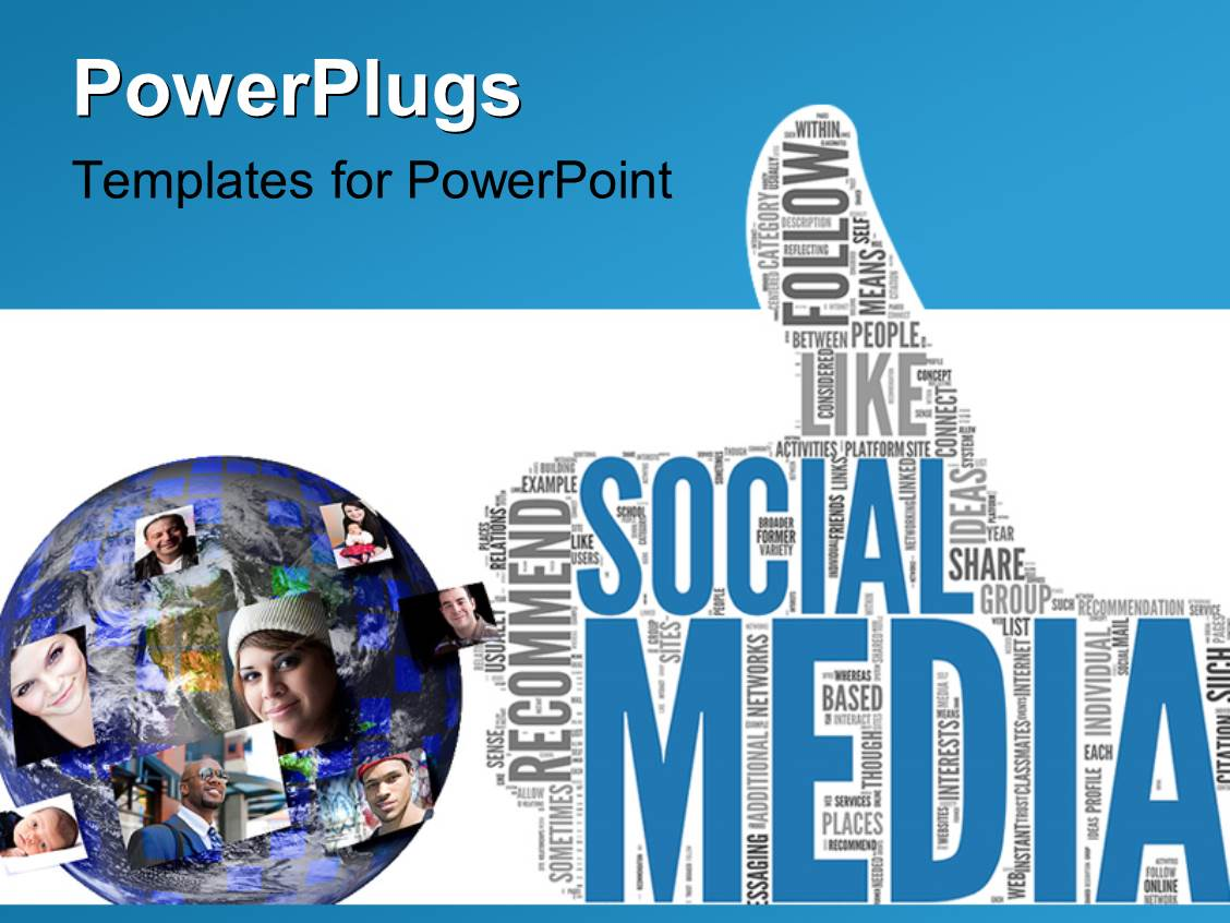 powerpoint template: social media concept in tag cloud of thumb up, Presentation templates