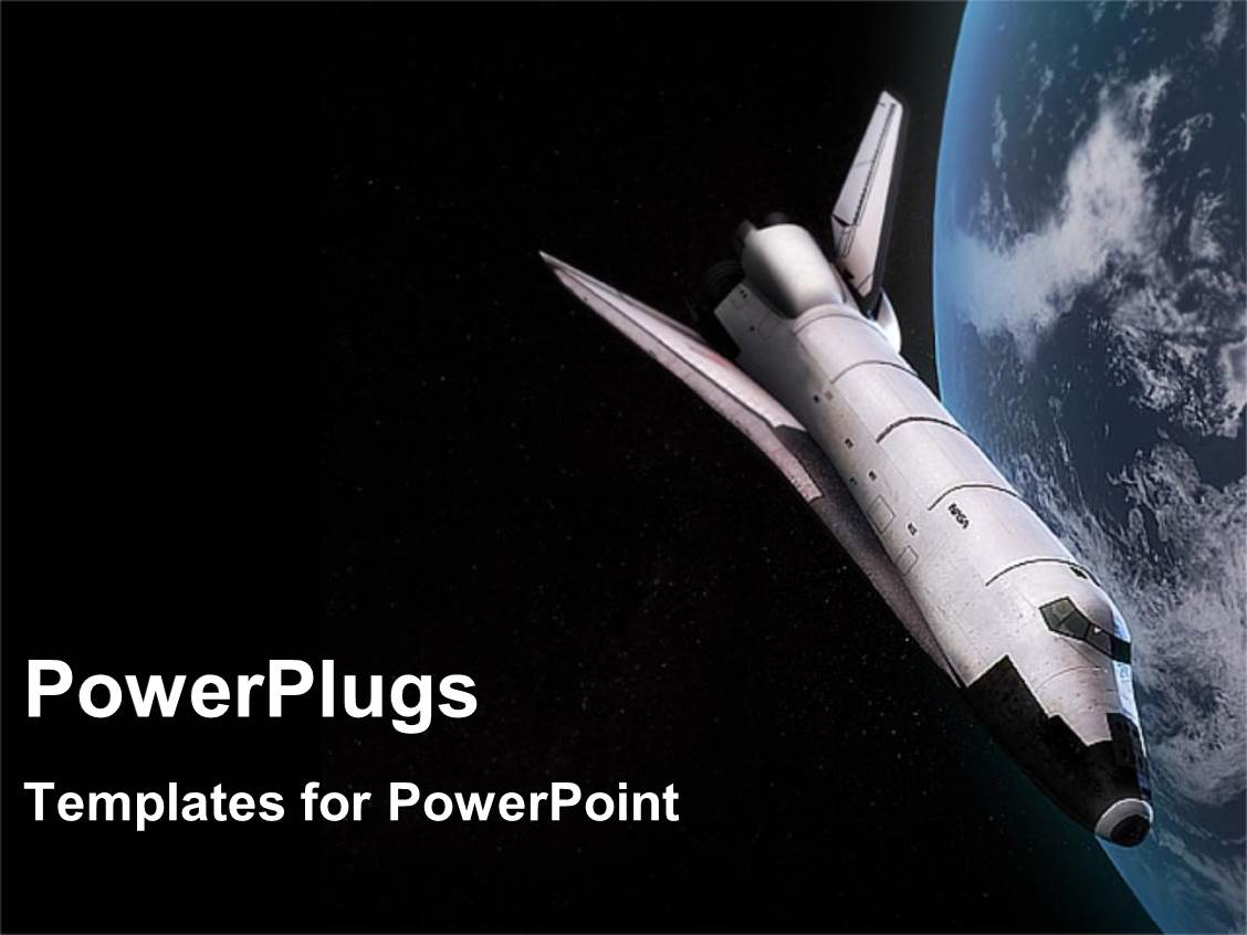 PowerPoint Template: Space Shuttle In Orbit Around The