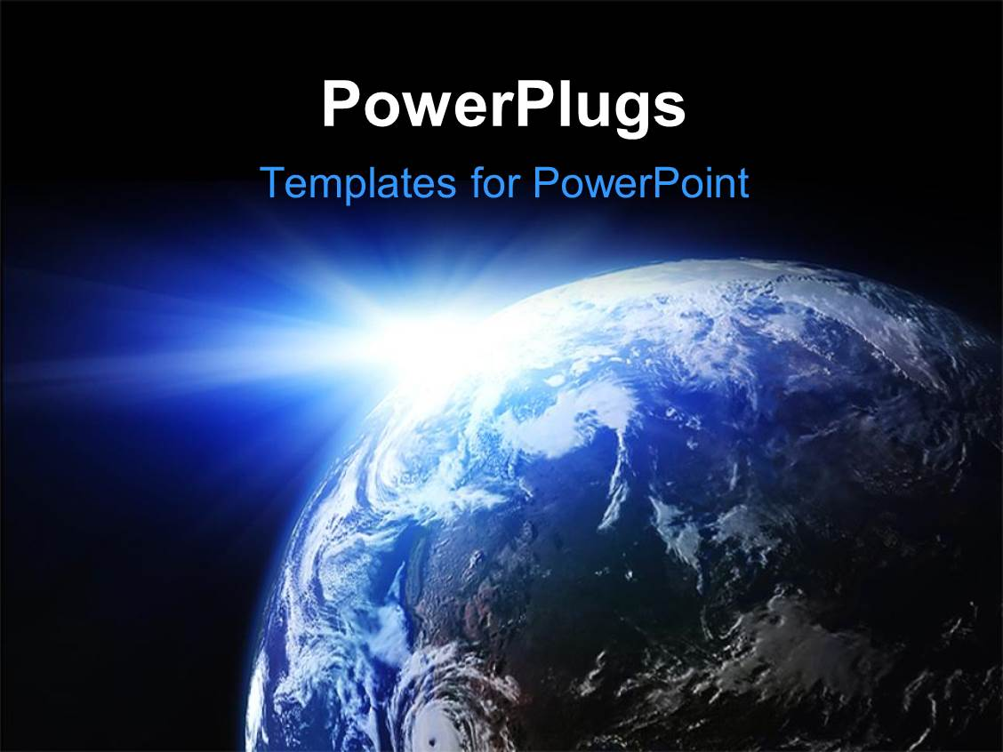 powerpoint template: space view of the sun shining on the planet, Modern powerpoint
