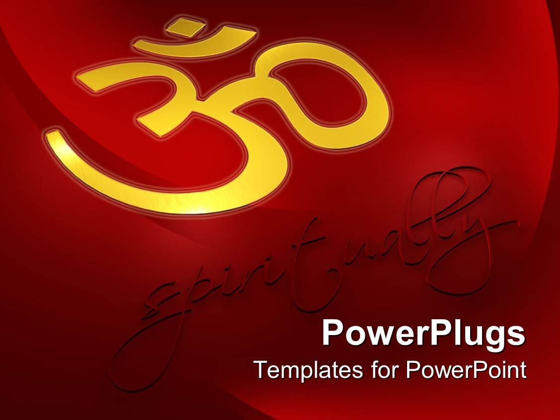 powerpoint template spirituality metaphor with gold om