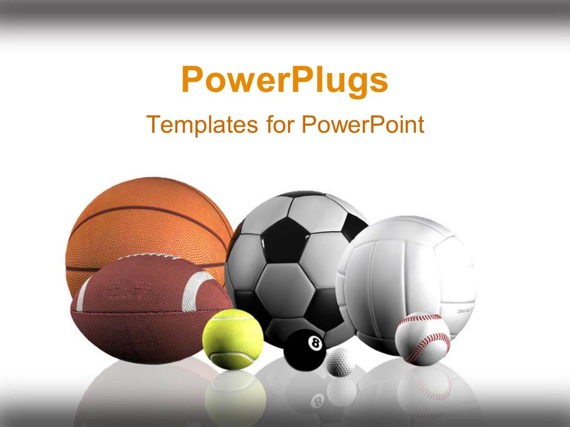 powerpoint template sports balls lined up white background 2835. Black Bedroom Furniture Sets. Home Design Ideas