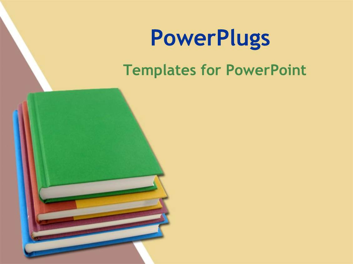 Powerpoint template a stack of four colorful books on a cream colored background 10897 for Ppt templates education