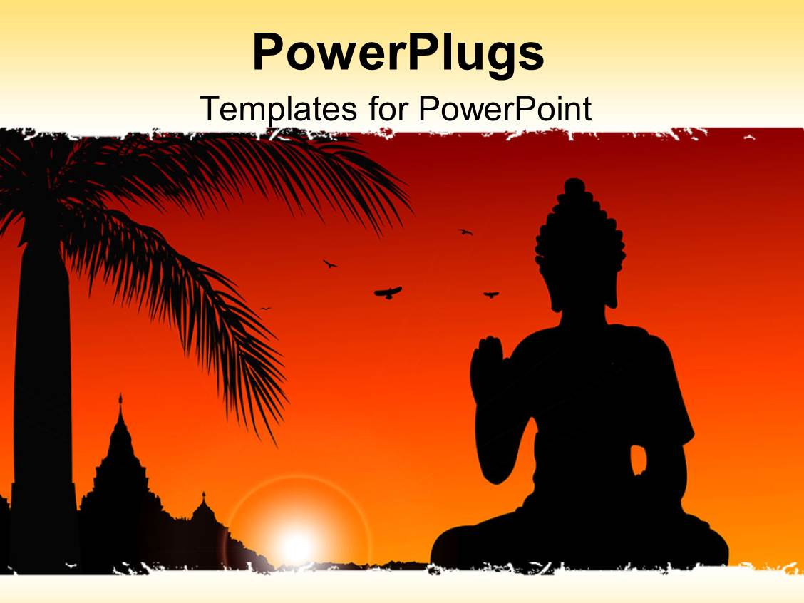 powerpoint template statue of buddha with sun set birds flying