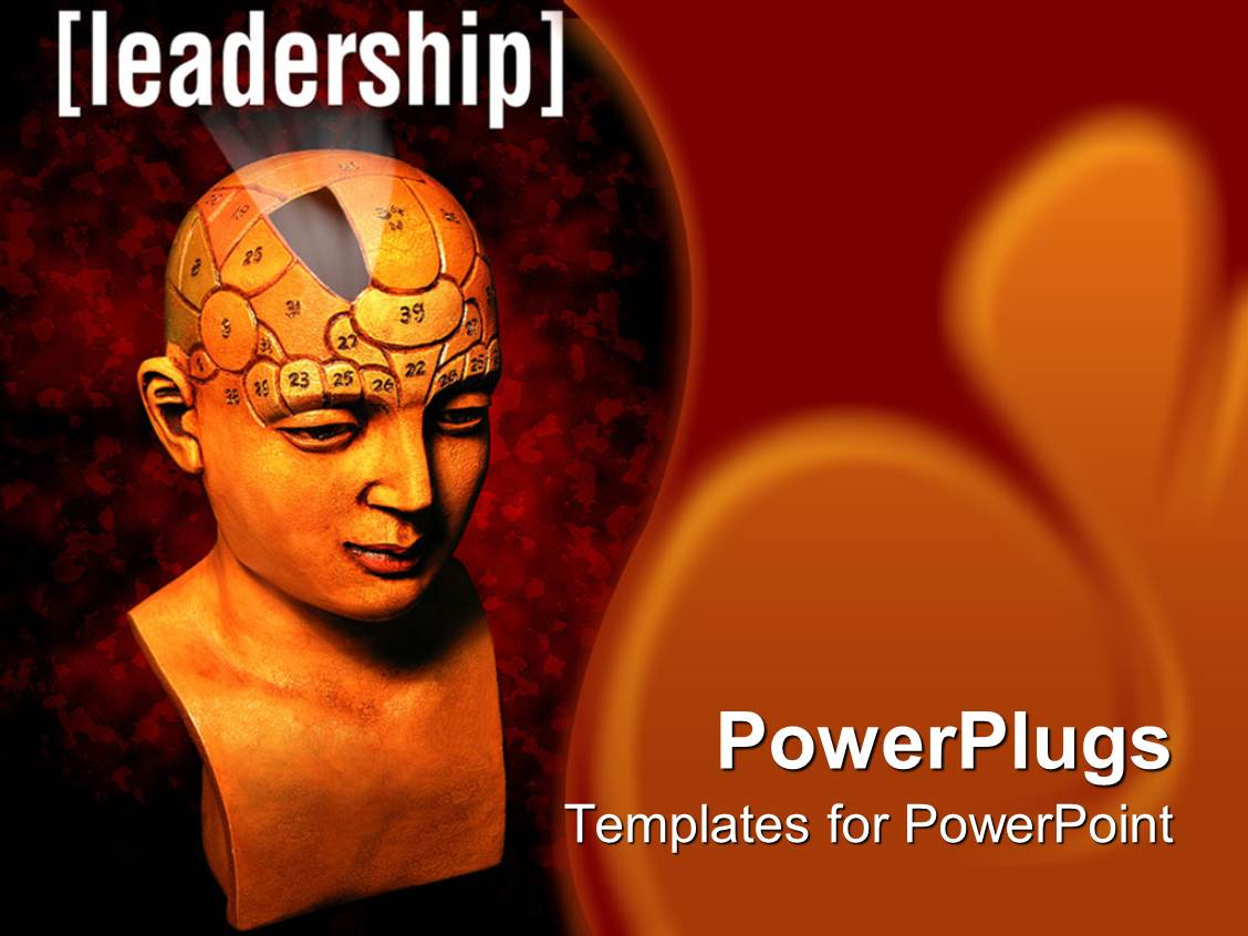 powerpoint template: statue bust of human head for psychology, Modern powerpoint