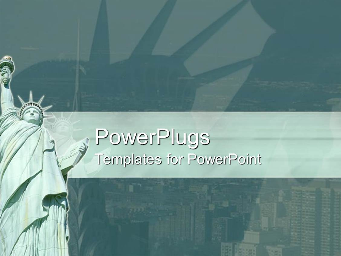 Powerpoint template statue of liberty with new york city in powerpoint template displaying statue of liberty with new york city in background green banner toneelgroepblik Images