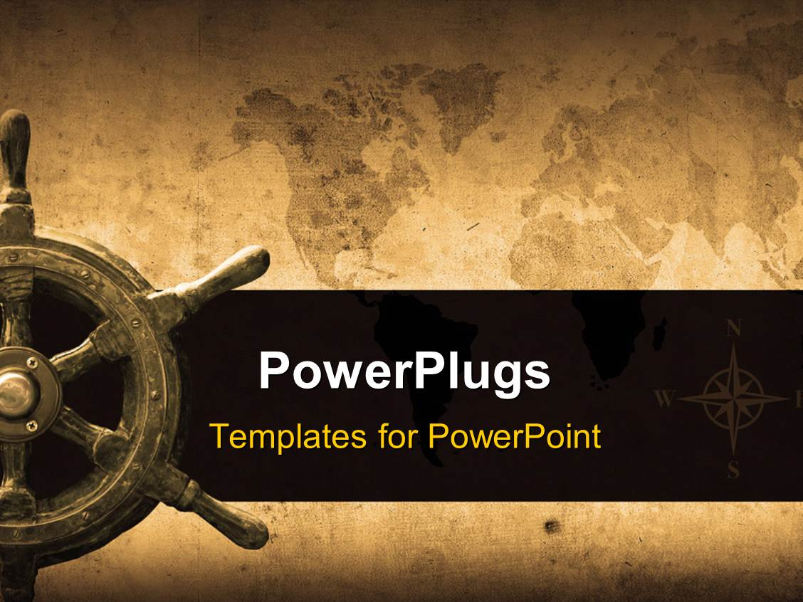 Powerplugs Powerpoint Template With Steering Wheel With A Navigator And Lighthouse Over Antique Paper Map