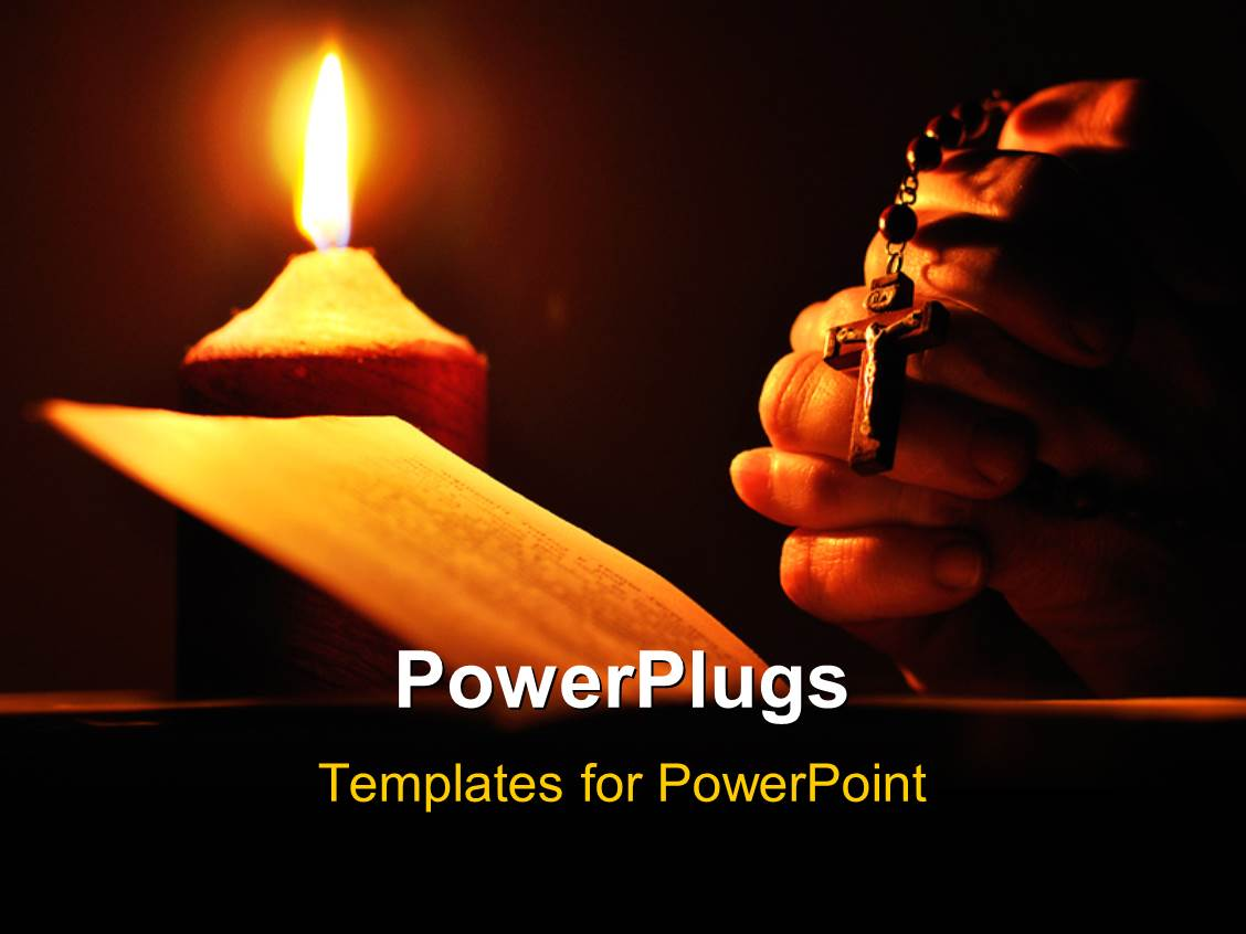 powerpoint template: hands holding glowing rosary beads, prayer, Powerpoint templates