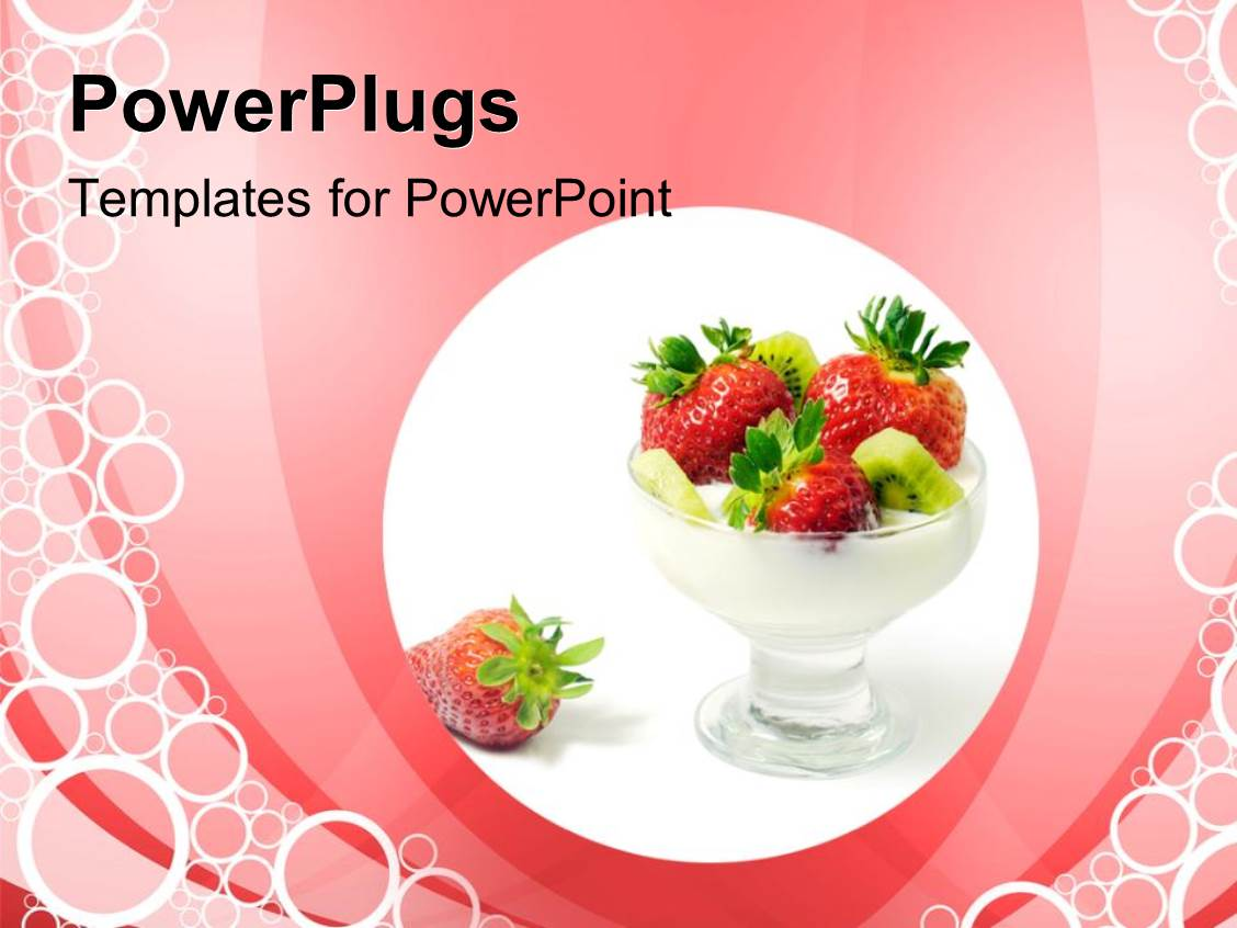 powerpoint template: strawberries in a glass cup on a pink, Presentation templates