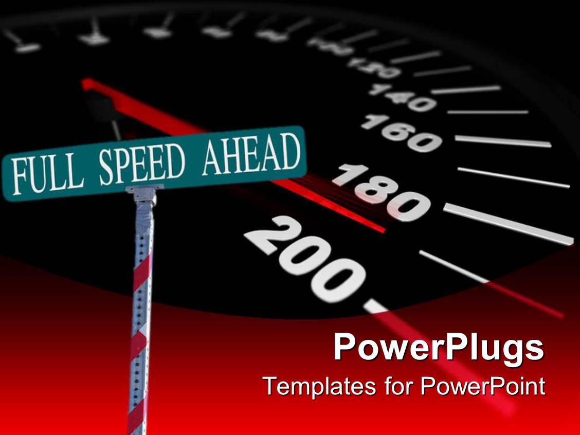 powerpoint template: street sign reading 'full speed ahead' with a, Modern powerpoint