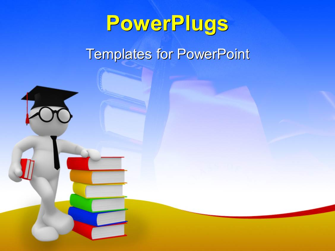 Powerpoint template student standing with a pile of for Power plugs powerpoint templates