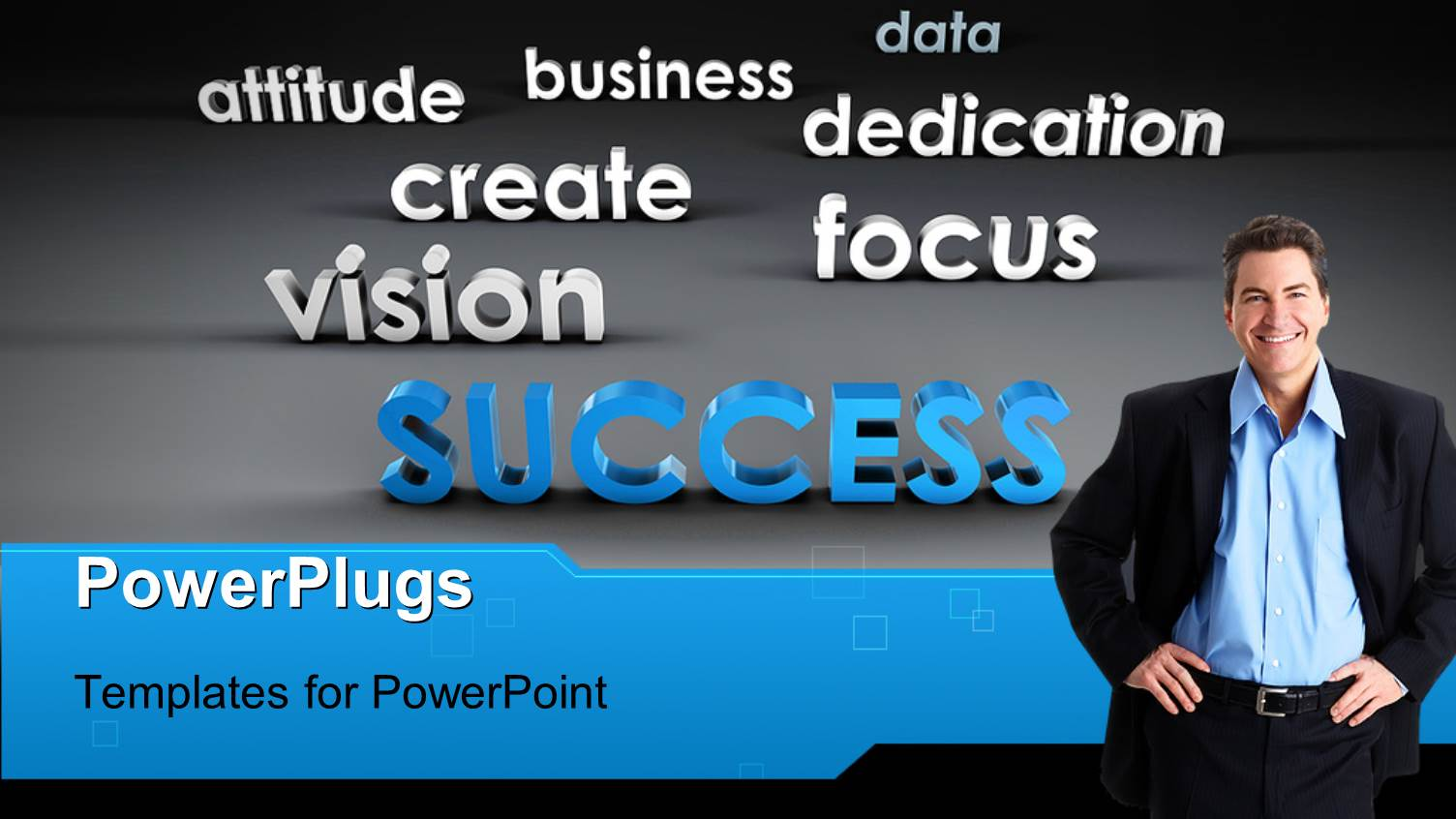 PowerPoint Template Displaying a Smiling Business Man with Lots of Inspirational Text