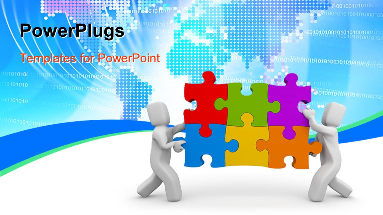 Powerpoint template teamwork depiction with 3d men for Power plugs powerpoint templates