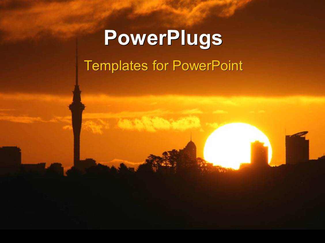 powerpoint template a sunset in a big city 7354
