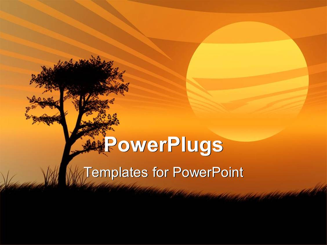 powerpoint template: sunset with tree and hills orange african, Modern powerpoint