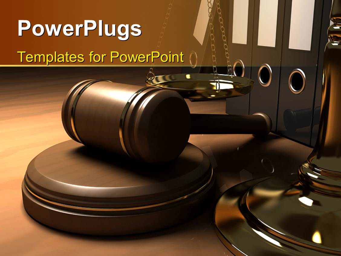 Powerpoint template a table with law gavel balance and for Power plugs powerpoint templates