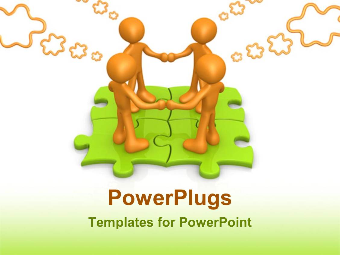 team building powerpoint presentation templates - powerpoint template team building thinking over a puzzle