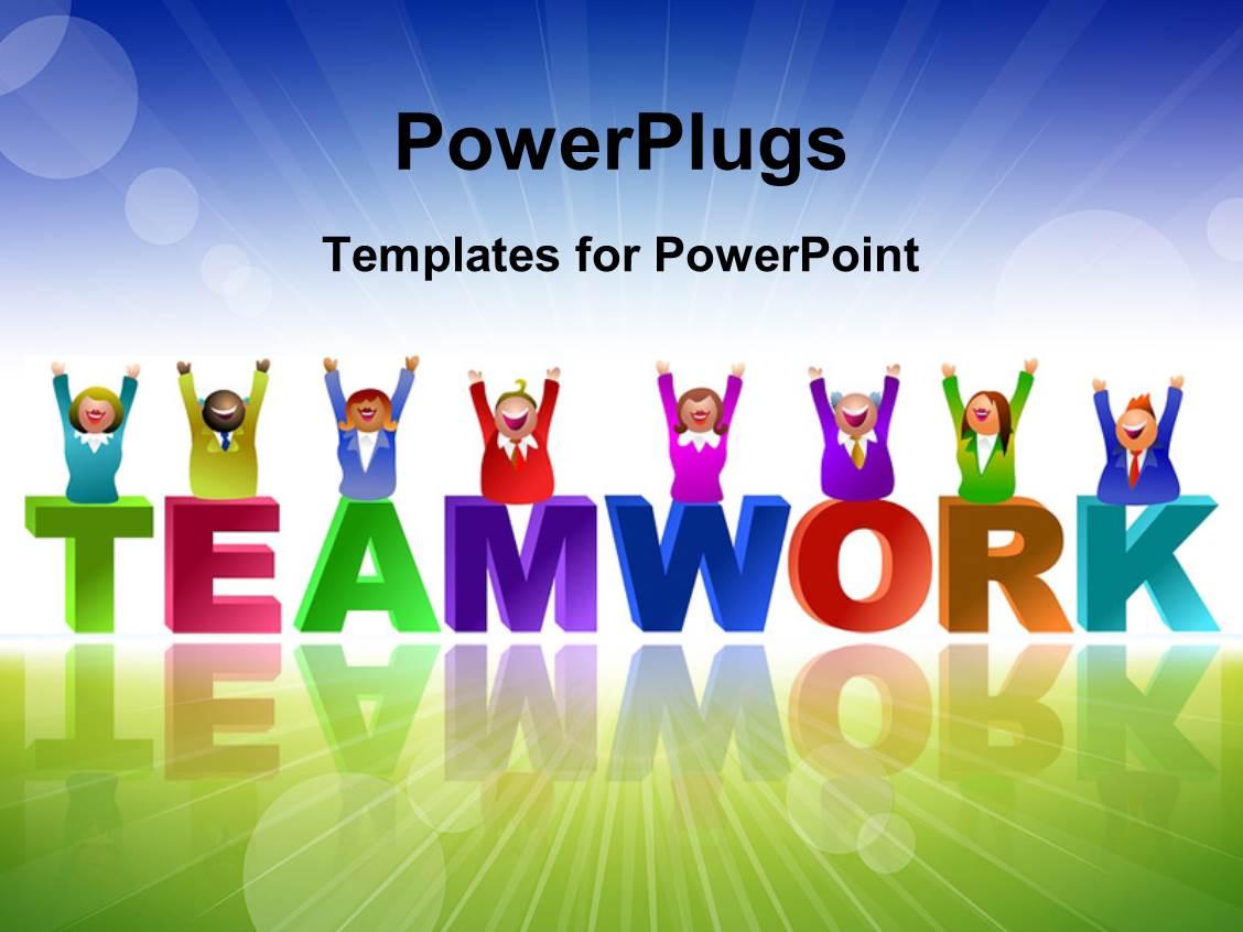 powerpoint template: teamwork depiciton as team of three men lift, Modern powerpoint