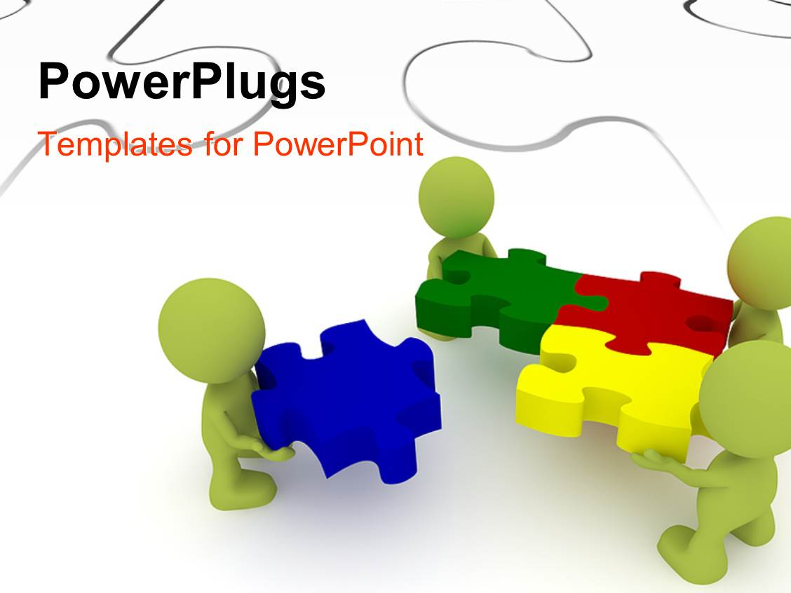 Team powerpoint templates crystalgraphics audience pleasing presentation design featuring team of three human character solving puzzles with white puzzle in template size audience pleasing toneelgroepblik Gallery