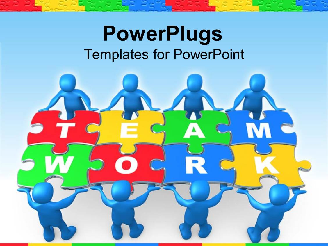 Powerpoint template team work graphics with people holding puzzle powerpoint template displaying team work graphics with people holding puzzle to problem on blue background toneelgroepblik Image collections
