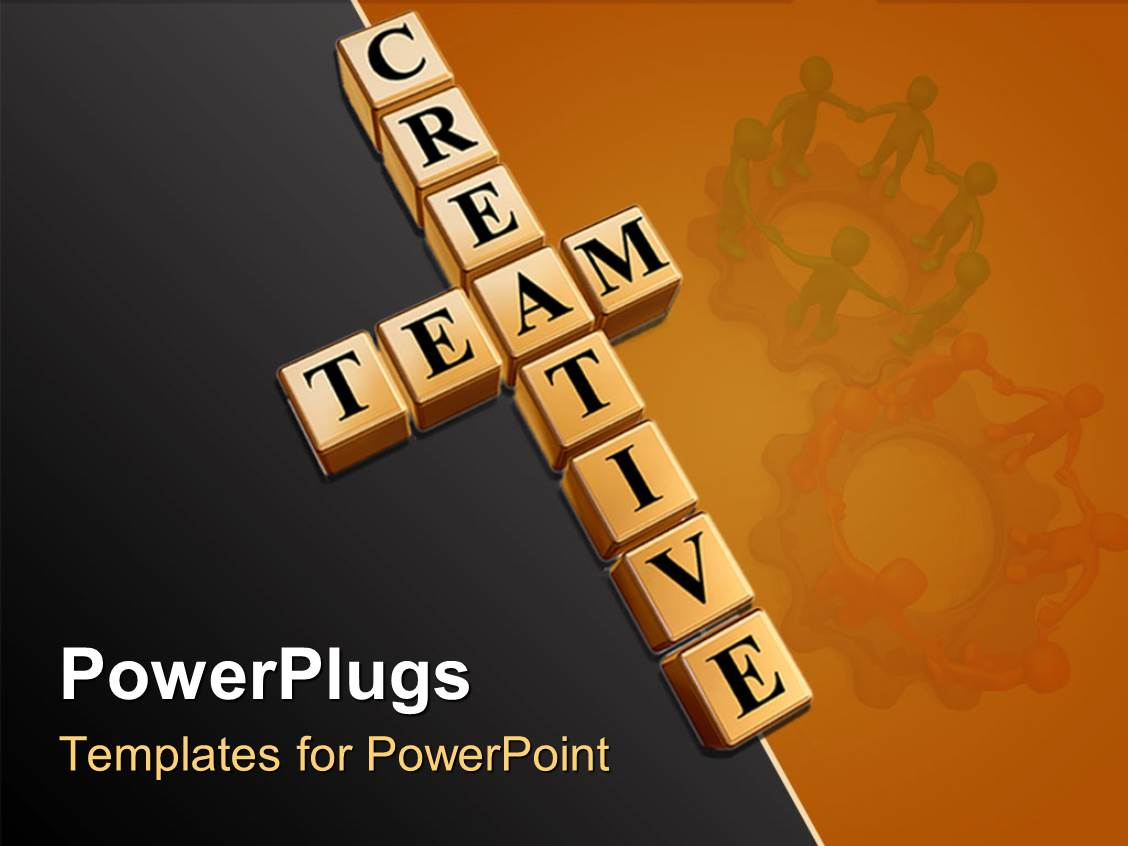 Powerpoint template teamwork theme with creative team for Team building powerpoint presentation templates