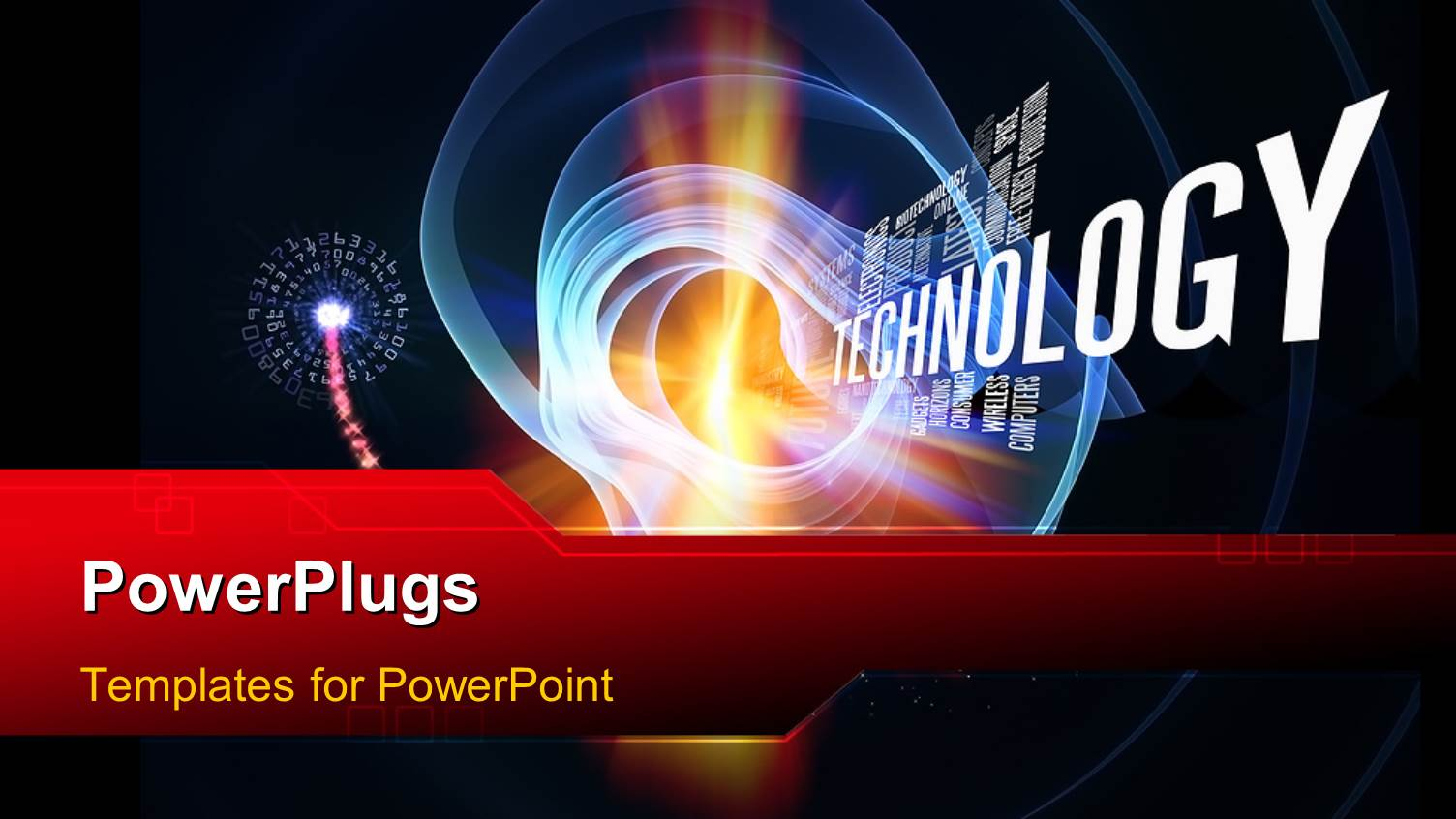 Powerpoint template technology words and abstract forms for Power plugs powerpoint templates