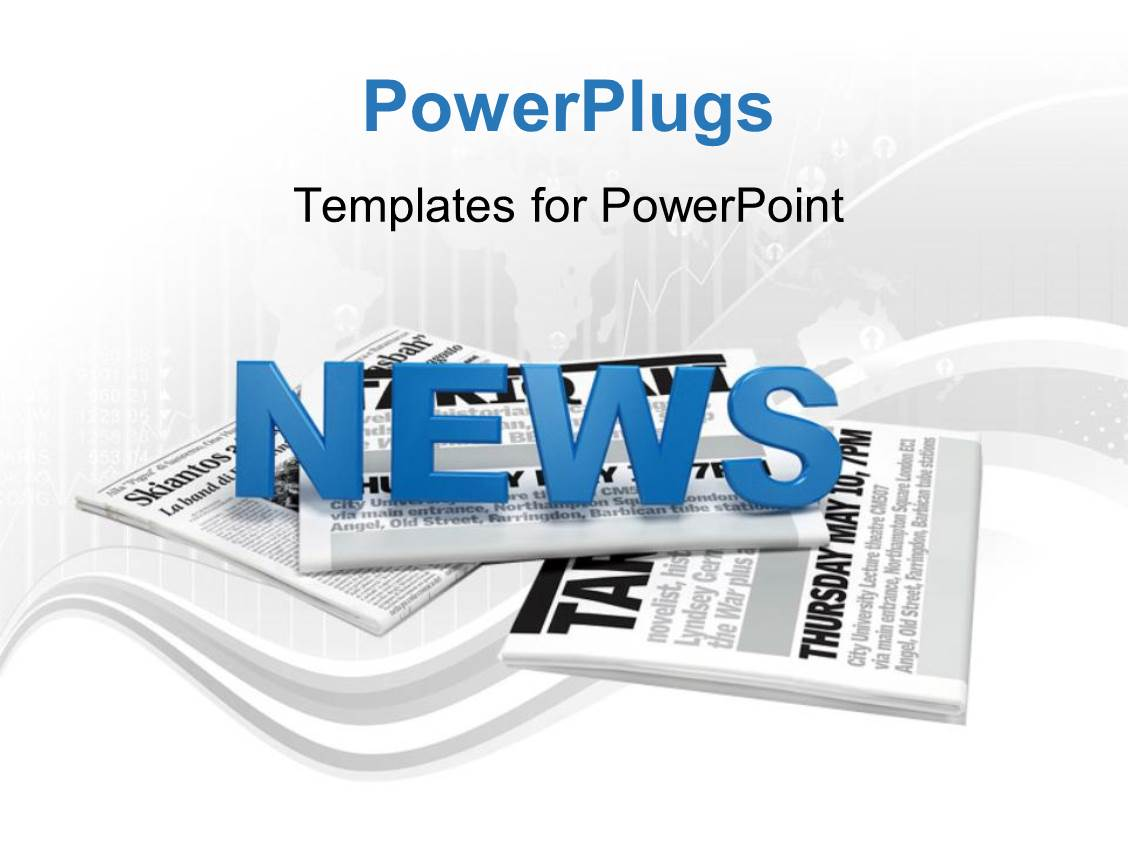PowerPoint Template Text news on a bunch of newspaper with map – Newspaper Powerpoint Template