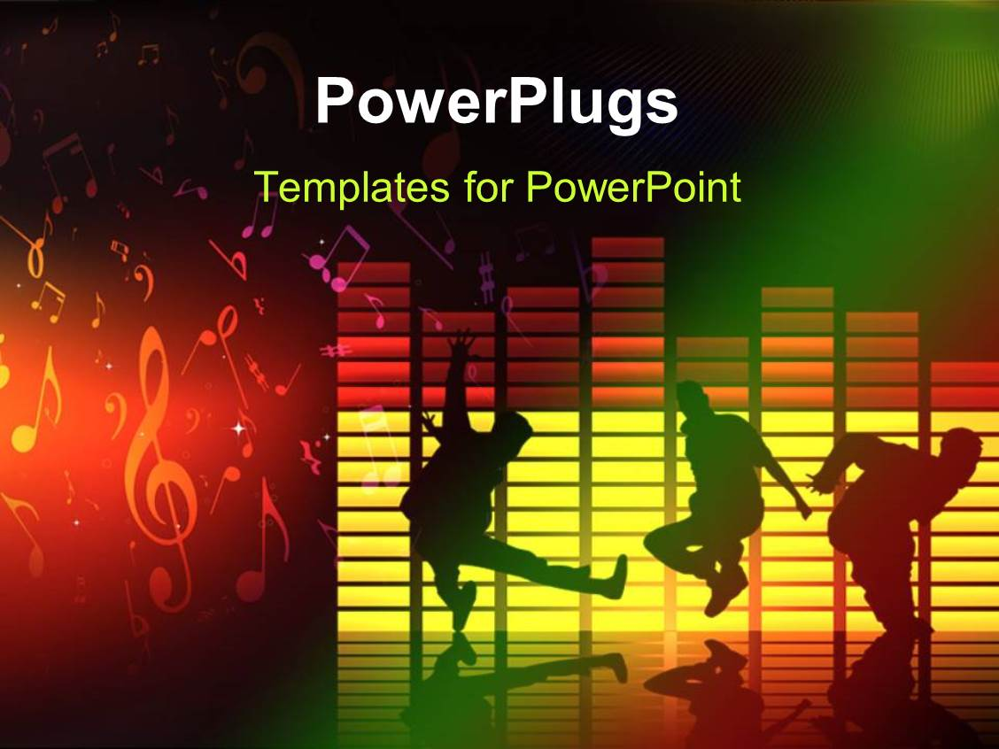 music themed powerpoint templates - powerpoint template thee people dancing and jumping on a