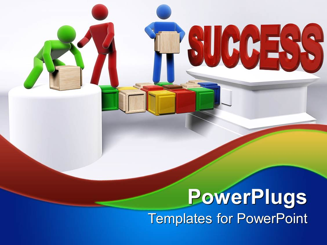 powerpoint template three 3d figures working in team to