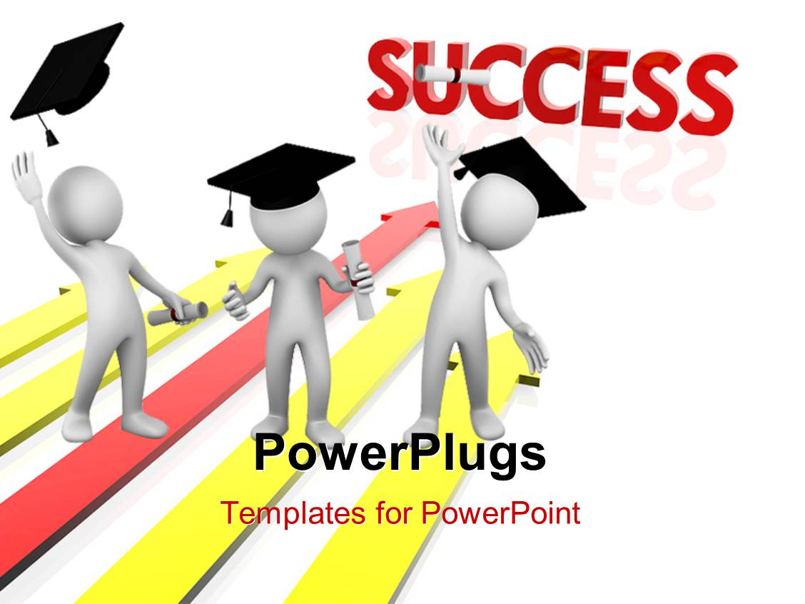 PowerPoint Template Displaying Three 3D Men with Graduation Hats on White Background with Colored Arrows