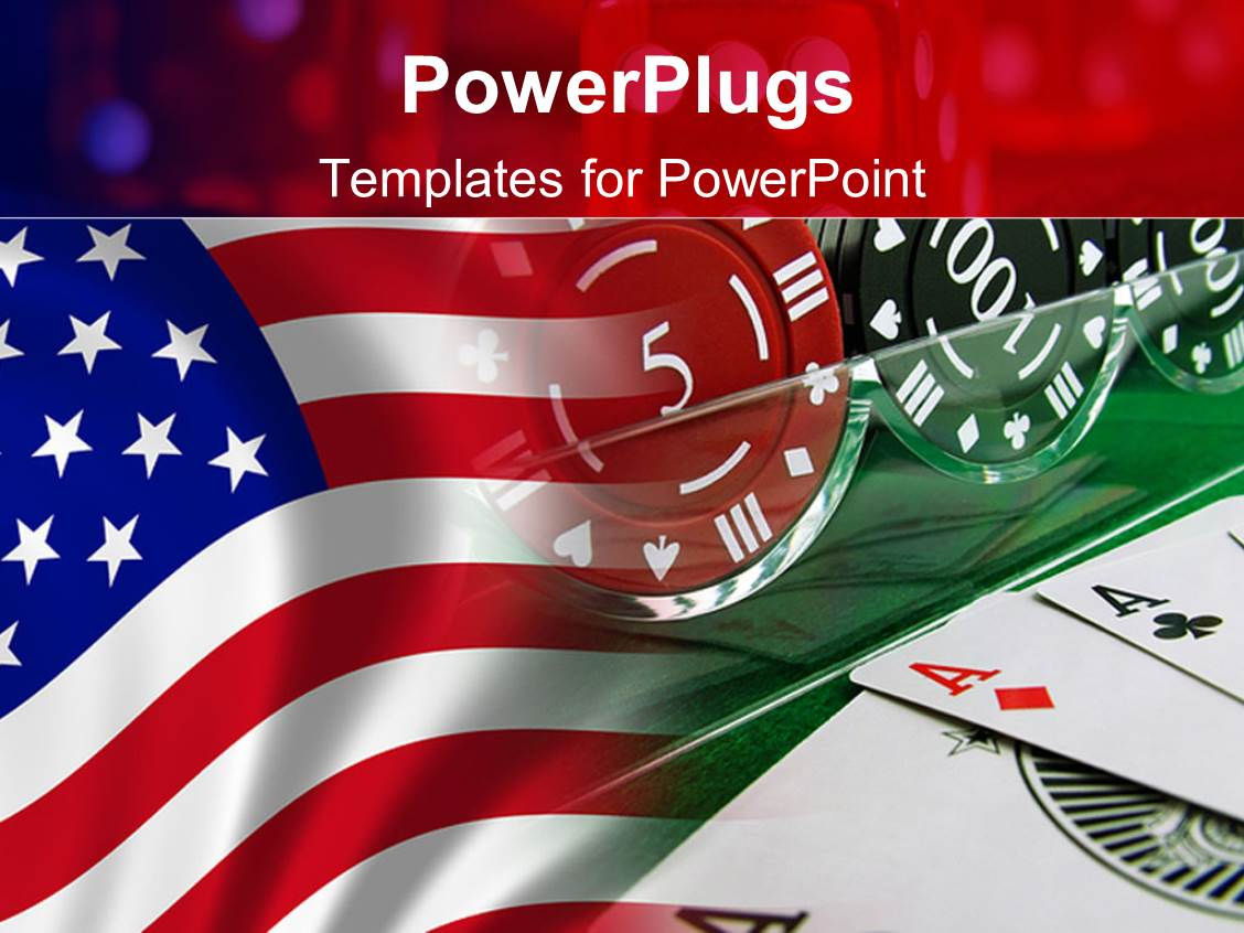 powerpoint template three aces with american flag in the background 13283. Black Bedroom Furniture Sets. Home Design Ideas