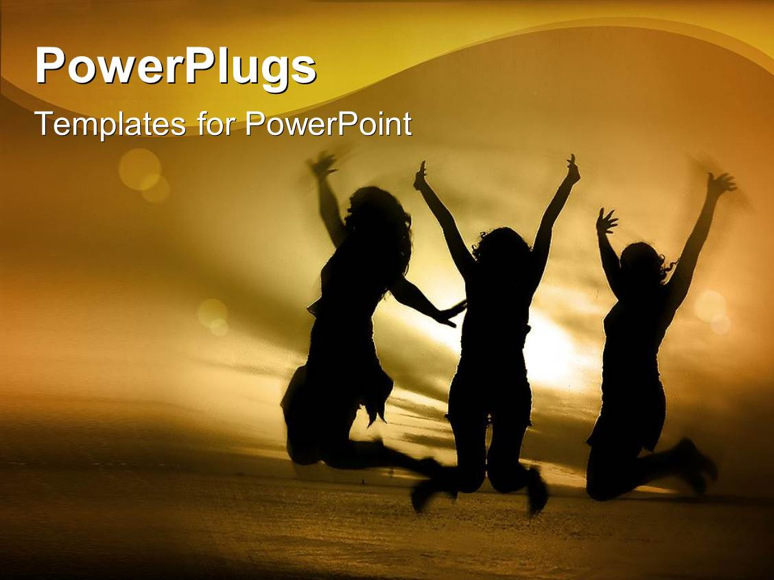 Youth powerpoint templates crystalgraphics powerplugs powerpoint template with three girls jumping in the air on a beach toneelgroepblik