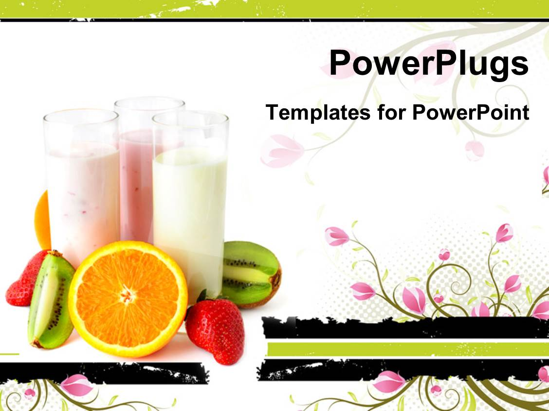 powerpoint template: three glasses with yogurts surrounded, Presentation templates