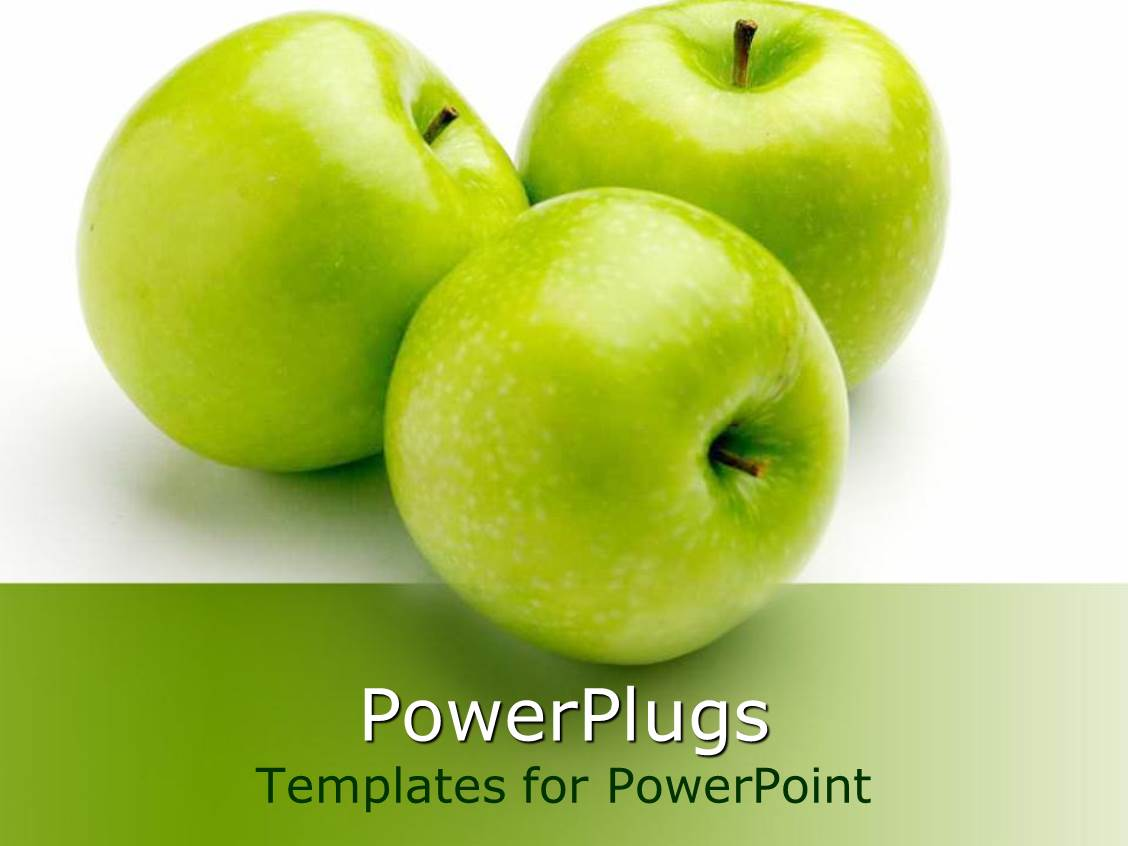 Powerpoint template three green apples fruits from tree nature on powerpoint template displaying three green apples fruits from tree nature on white background toneelgroepblik Gallery